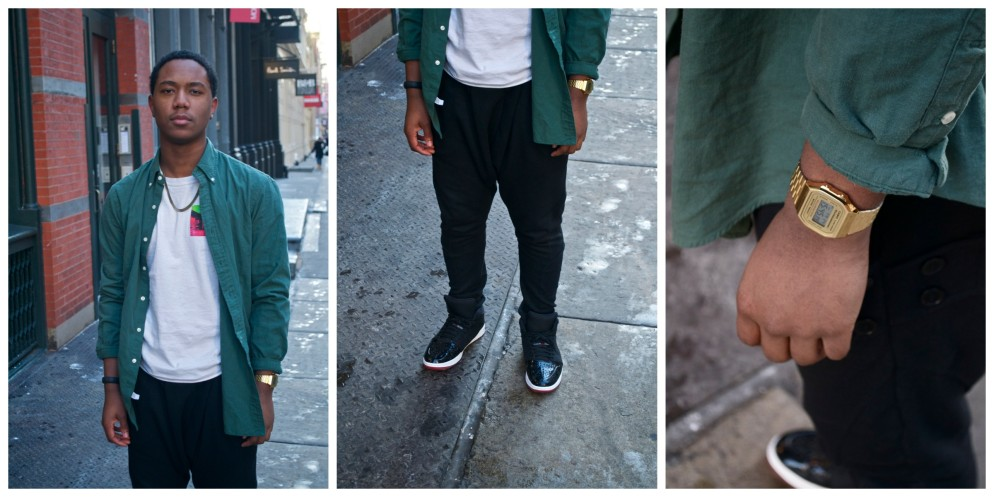 Shoes: Jordan Retro 1s  Over Shirt: Ralph Lauren Shirt: Supreme-- Easer Island Long Sleeve Watch: American Apparel