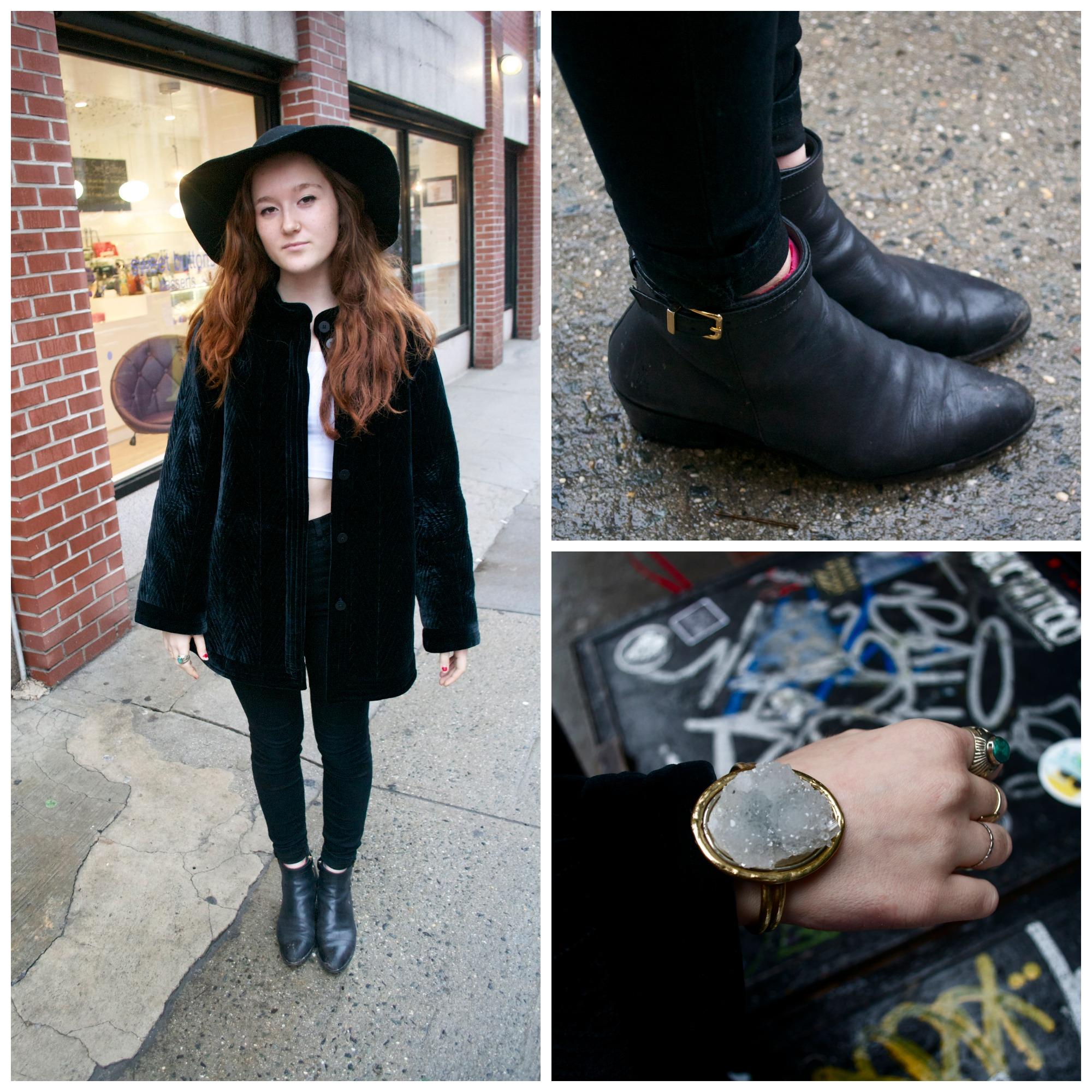Jacket: Beacons Closet Pants: Urban OUtfiiters Top: American Apparel Boots: J Crew  Hat: American Apparel Bracelet: Yumi Kim